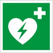 Sign AED defibrillator, photoluminescent, 10 x 10 cm