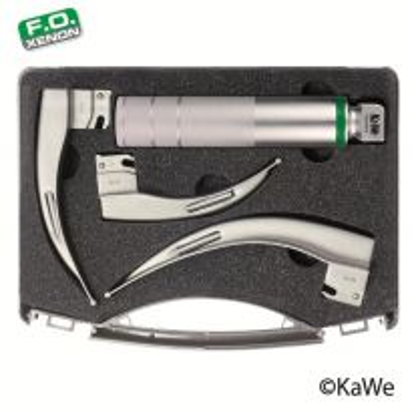 KaWe Macintosh F.O. Laryngoscope Set, adults, 1 handle + 3 blades