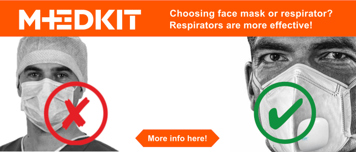 Choosing between face mask or respirator ? We recommend respirators because they are more effective than surgical face masks.
